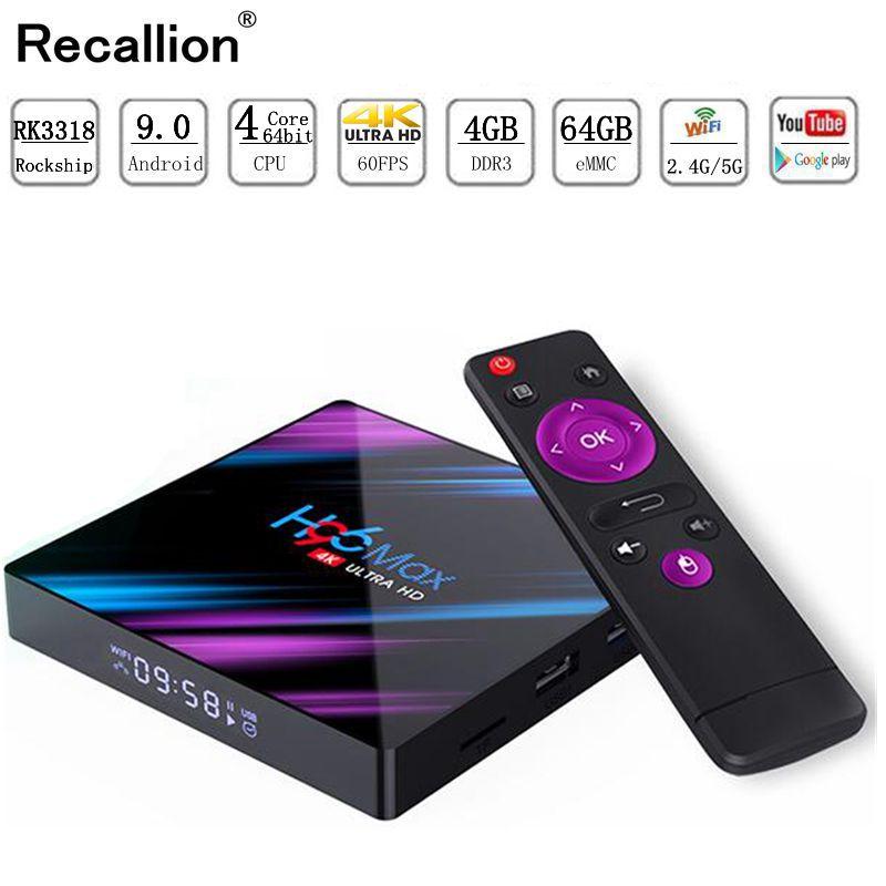 H96 MAX Smart TV Box Android 9.0 4 GB Ram 32 GB/64 GB Rom Rockchip RK3318 4 K USB3.0 H.265 Google Play IP TV décodeur PK tx3 mini