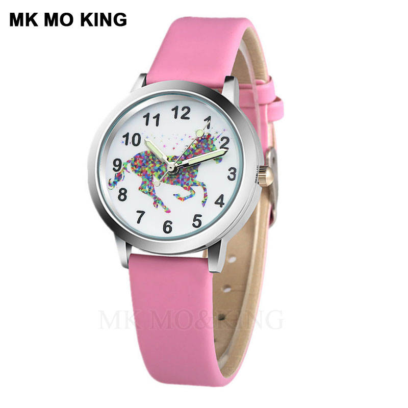 New 3D Cartoon Unicorn Crystal Leather Kids Watch Time Girls Boys Kids Quartz Cool Sport Wristwatch Gifts Clock Relojes