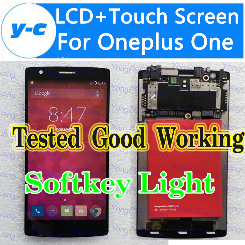 For Oneplus One LCD Display+Touch Screen With softkey illumination light New Digitizer Glass Panel for One plusone 5pcs lot 100% new original oneplus one lcd screen touch panel digitizer for oneplus one 64gb 16gb lcd display 100%tested