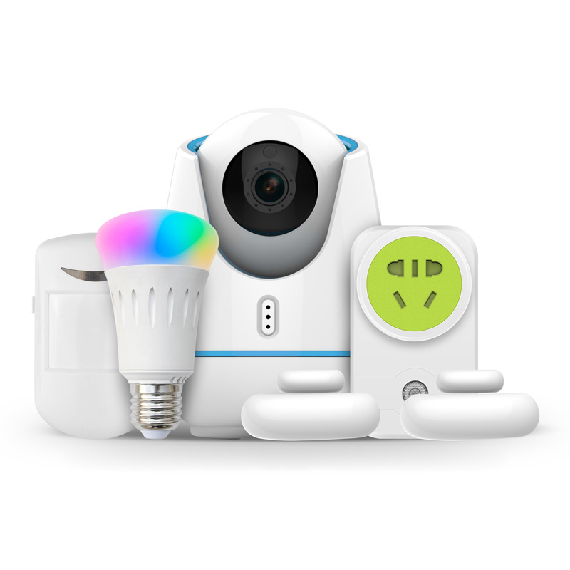 Intelligent IP Camera Kit With Home Appliance Control Outlet And Bulb Light Etc Support ZigBee RF IR Multi-Stream Output Control