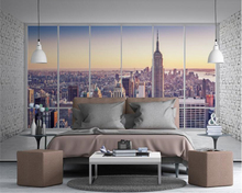 beibehang Custom Stylish Wallpaper Balcony Windows City High-rise Scenery TV Background papel de parede wall papers home decor