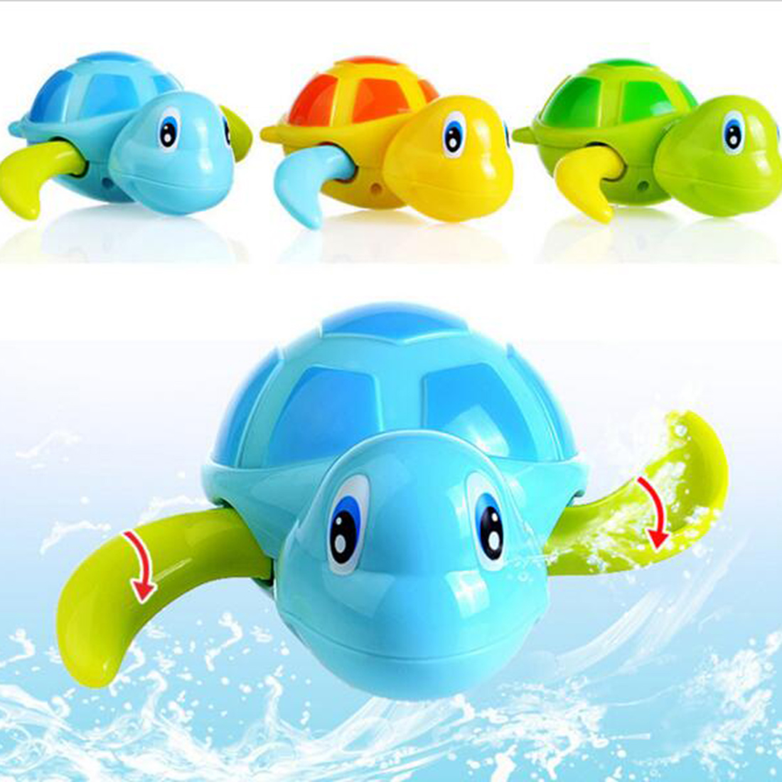 Nice Baby Bath Swimming Toy Turtle Wind Up Clockwork Play Swimming ...