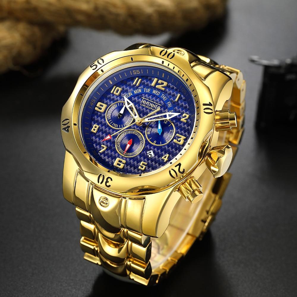 Top Brand Temeite Luxury Quartz Watch Men Causual Gold Watches Waterproof Big Dial Wristwatches Clock Relogio Masculino Reloj