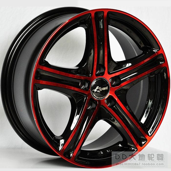15 16 Inch Automobile Race Rim Black Red Black Titanium