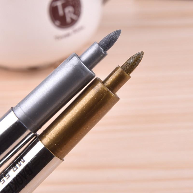 2 дана / лот Шақыруға арналған күмістен жасалған алтын маркер Металл қалам, фотоальбом DIY маркер кескіндеме