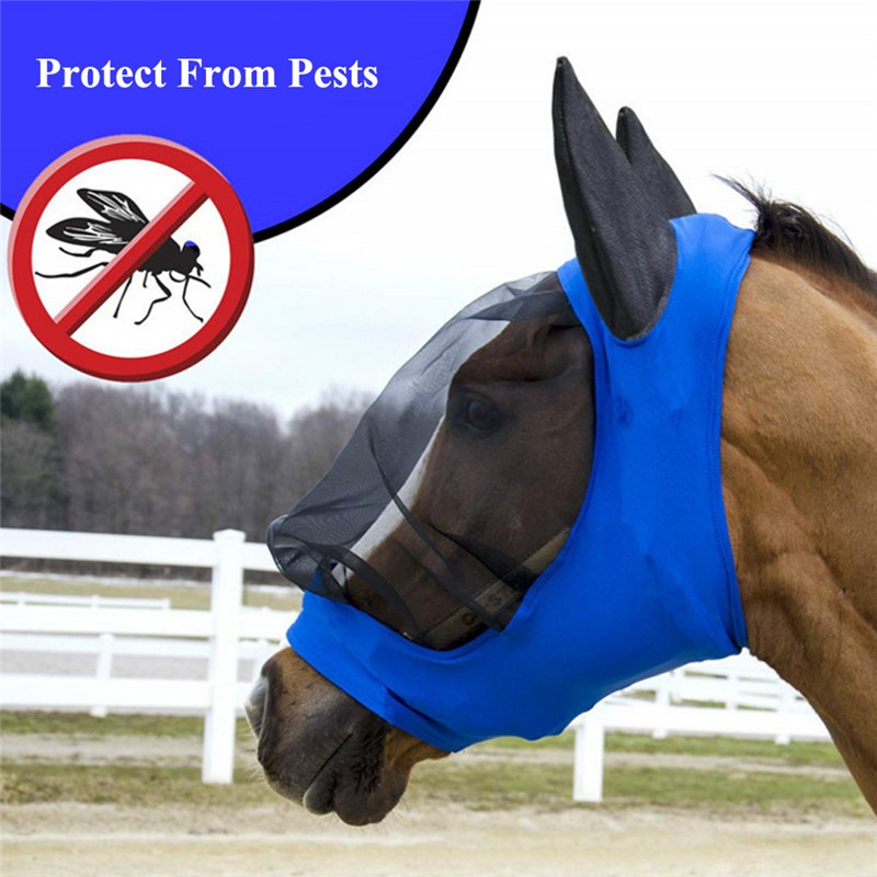 Image 3 - Pet Supplies Horse Detachable Mesh Mask With Nasal Cover Horse Fly Mask Horse Full Face Mask Anti mosquito Nose with Zipper-in Horse Care Products from Sports & Entertainment