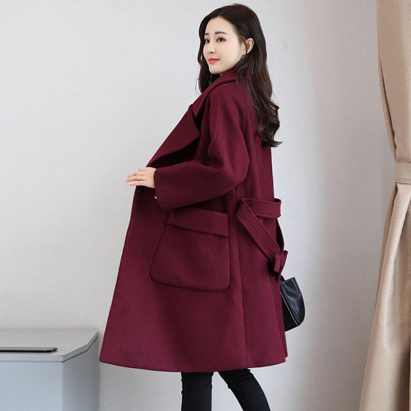 Yasuguoji Femmes down Automne Manteau Manteaux D'hiver Femme De En Turn Collar Laine Red Long rrxnav