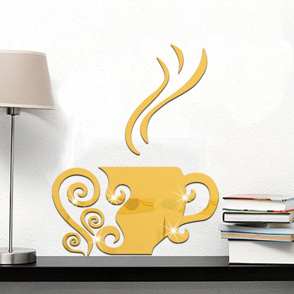 Creative coffee cup decorative mirror surface wall stickers home ...