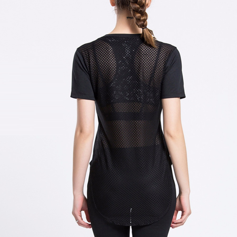 Women Black Short Sleeve Elastic Yoga Shirts Mesh Sports T Shirt Fitness Womens Gym Running Black Tops Tee Quick Dry Shirts