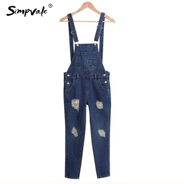 4410ca38ab SIMPVALE Salopette Women Stonewash Destroyed Denim Dungarees Jumpsuit  Ladies Overalls Casual Skinny Girls Jeans Pants Rompers