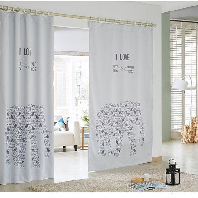 2015 New Kids Room Blackout Curtains For Children 3d White Elephant Cartoon  065