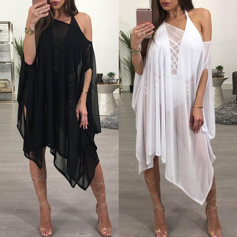 cba4dba250 Women bikini cover up swimsuit swimwear beach shirt dress cloak sleeves  black white sunscreen wrap kaftan