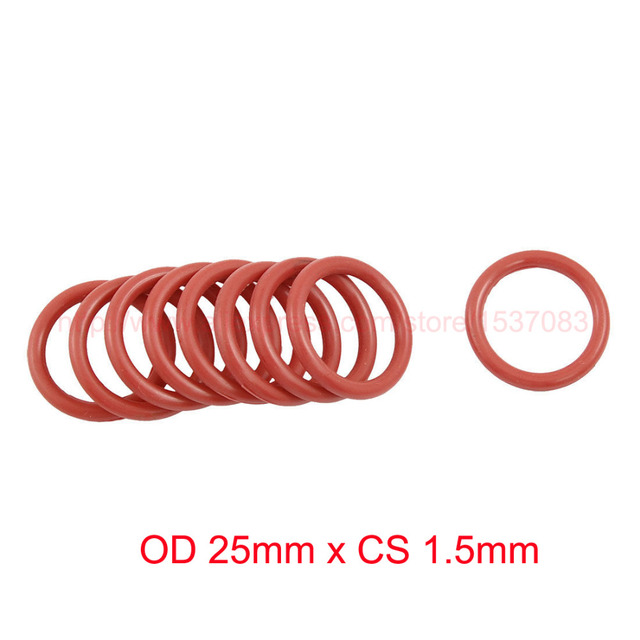 OD 25mm x CS 1.5mm silicone o rings o ring oring seal round rubber ...