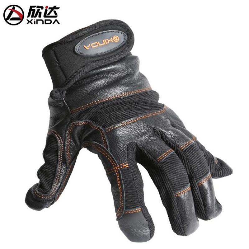 Xinda SRT Slippery Rope Descending Drop Climbing Cave Rescue Wear-resistant Anti-skid Protection Leather Gloves