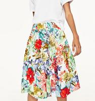 WISHBOP Woman 2017 Hot Sale Multicoloured PRINTED POPLIN Knee Length Skirt WITH FRILL With Stretch Waist