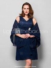 Marineblau Mutter der Braut Kleid Plus Größe 2017 Chiffon mit Bolero Schärpe Spitze Mini Abend-abschlussball 6221550