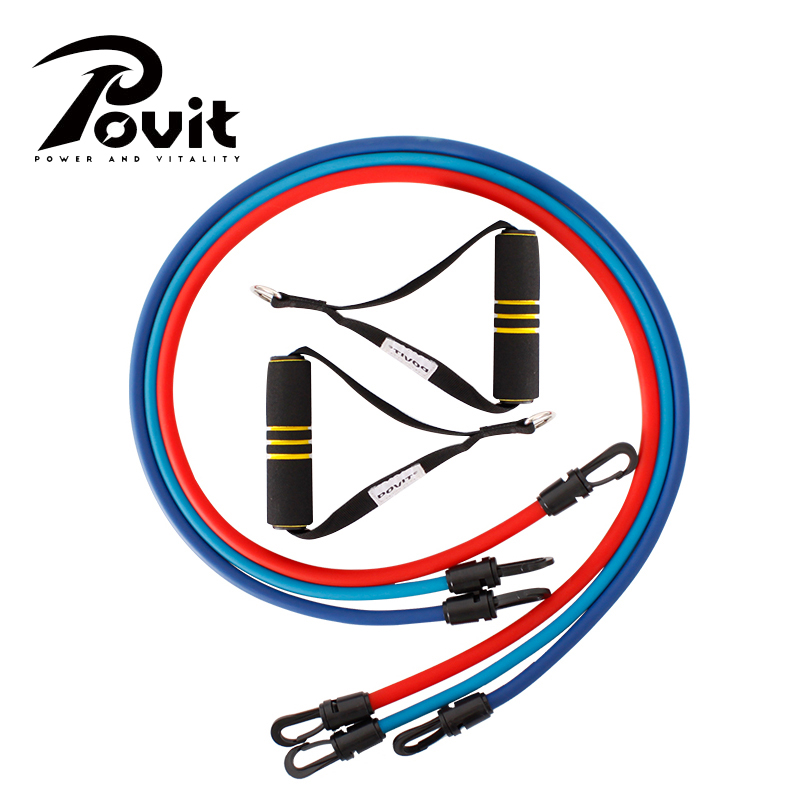 POVIT 3Tubes Latex Pull Rope Expander Fitness Resistance Band Elastic Exercise Bands for Yoga Pilates Crossfit Workout Training