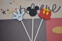 12 Pcs/lot Mouse Cupcake Toppers Picks Pesta Ulang Tahun Baby Shower Cupcake Toppers Picks Makanan(China)