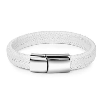 Braided Leather Men's Bracelet with Magnetic Stainless Steel Clasp Bracelets Hot Promotions Jewelry Men Jewelry New Arrivals Metal Color: White Length: 16.5cm