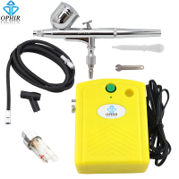 OPHIR 0.30 mm Airbrush Nail Kit with Mini Air Compressor Filter for Temporary Tattoo Body Paint Nail Art_AC034+AC004A+AC011