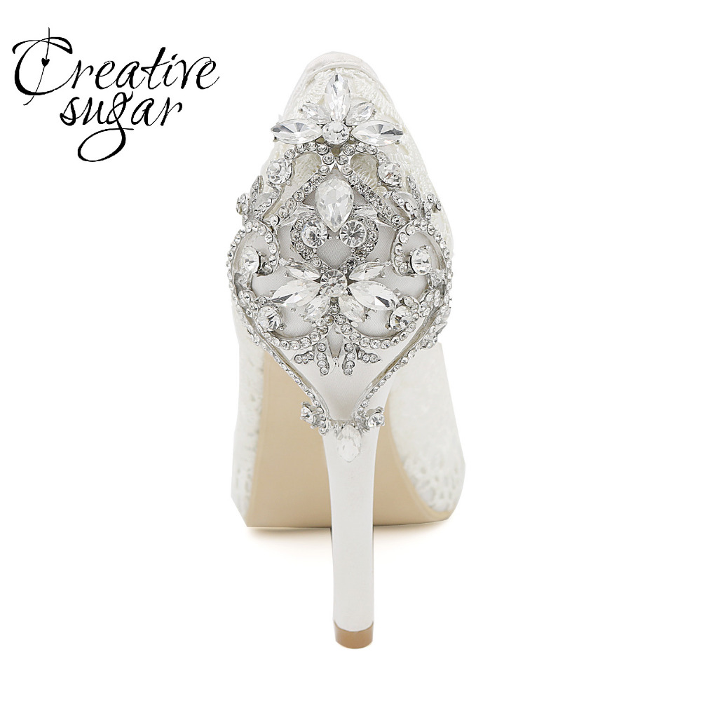 Creativesugar lady platform open toe lace pumps with crystal on heel noble high heel bridal wedding party evening dress shoes lace high low swing evening party dress