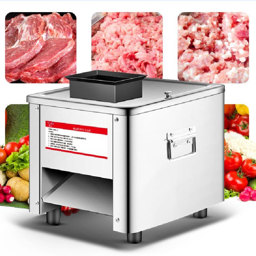 Commercial Meat Slicer Stainless Steel Fully Automatic 850W Shred Slicer Dicing Machine Electric Vegetable Cutter Grinder