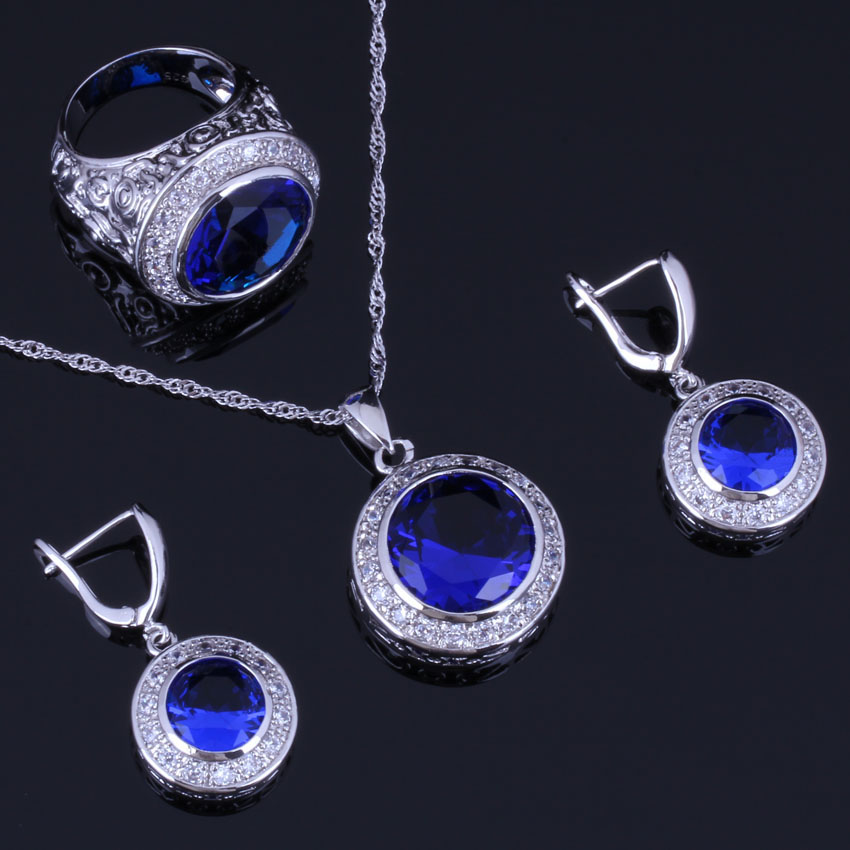 Eye-Catching Round Blue Cubic Zirconia White CZ 925 Sterling Silver Jewelry Sets For Women Earrings Pendant Chain Ring V0989