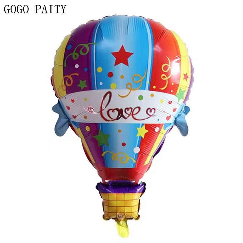 GOGO PAITY    New Style Hot Air Balloon Shaped Aluminum Balloons Children's Cartoon Toy Balloons Wholesale