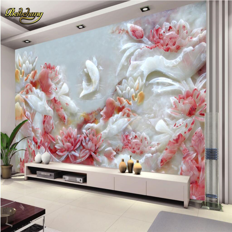 beibehang Custom Papel De Parede 3D Jade carving lotus photo wall mural Wallpaper Bedroom TV background wall papers home decor beibehang twinkle little star child wallpaper house bedroom home decor background wall paper kids nursery room papel de parede