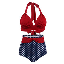 High Waist Swimsuit Bikini Female S-XXXL Dots Bikinis Women Large Sizes Swimwear Plus Size Push Up Bikini Swimwear Swimming Suit(China)