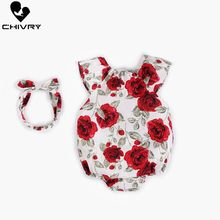Chivry Baby Girls Bodysuit Summer Sleeveless Floral with Bandeau Cute Jumpsuit Newborn Playsuit Infant Clothes