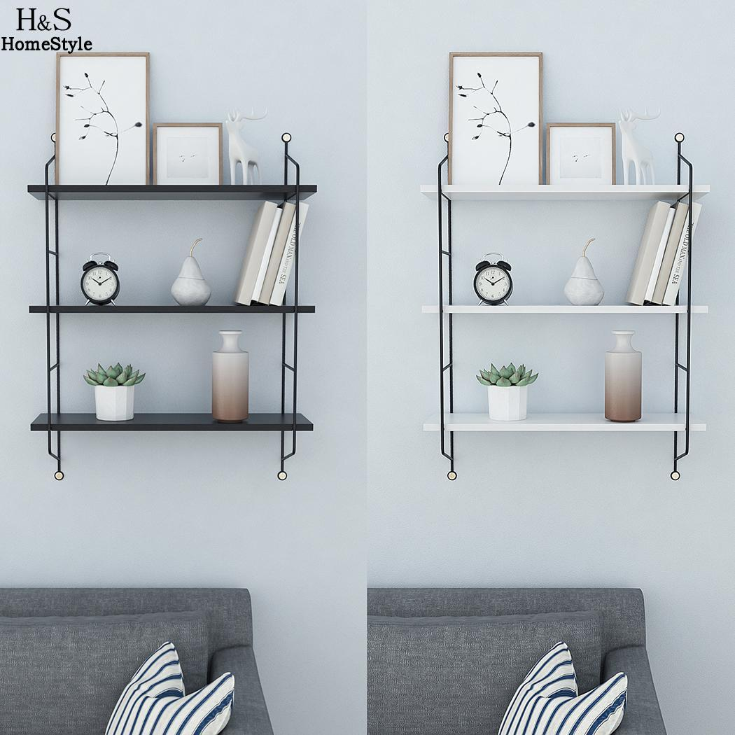 Storage tiers rustic floating book shelves wall mounted industrial ...