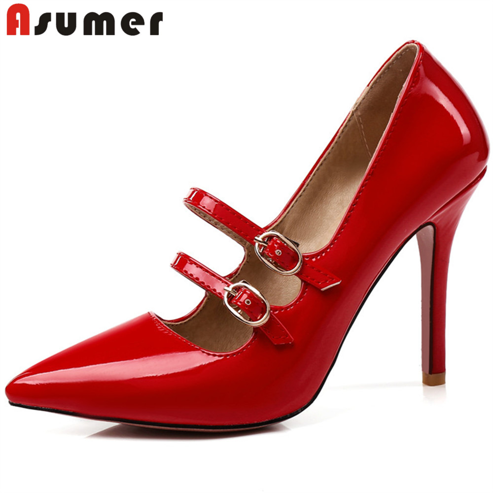 ASUMER 2018 fashion women pumps pointed toe buckle elegant shoes woman prom wedding shoes thin high heels shoes women plus size fletite top quality elegant embroidery 8 color women pumps pointed toe thin high heels 2018 new fashion luxury women shoes brand