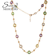 Neoglory Stylish MADE WITH SWAROVSKI ELEMENTS Crystal & Rhinestone Sweater Necklace Statement Brand Jewelry Gifts for Birthday