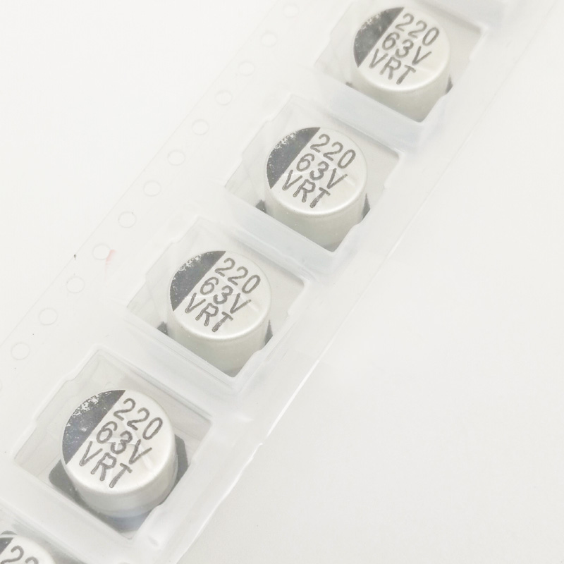 50pcs/lot <font><b>63V</b></font> <font><b>220UF</b></font> 10X10 SMD Aluminum Electrolytic Capacitor 10*10MM image