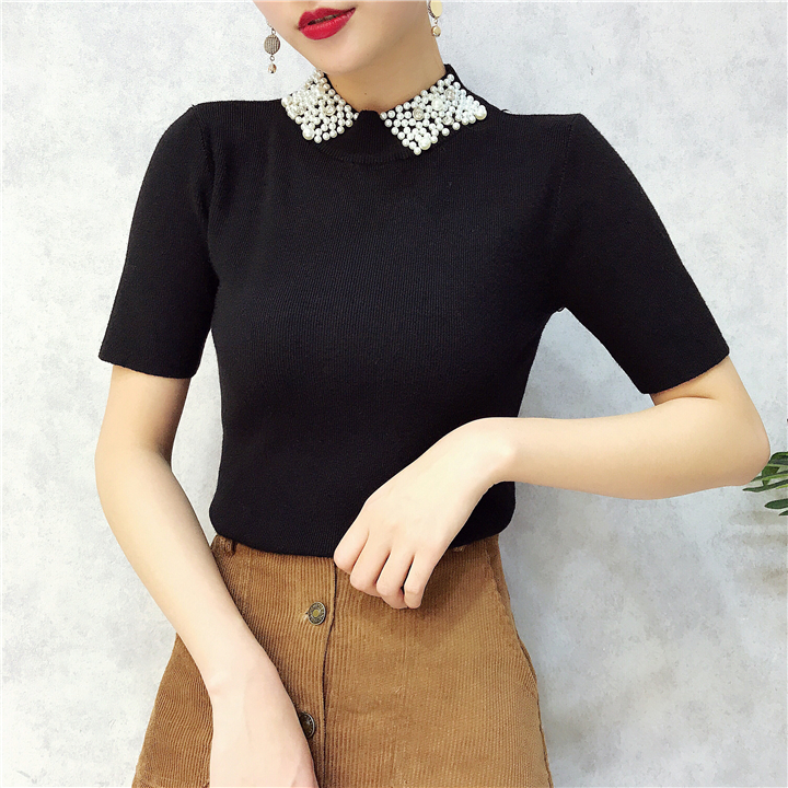 ALPHALMODA 18 Summer Ladies Short-sleeved Pearl Collar Pullovers Casual Slim Knit Sweater Women Studded Fashion Jumpers 8