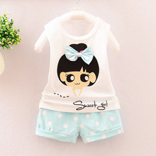 цены на okoufen 2019 new baby girl clothes suit summer sleeveless girl t shirt children cotton vest girls suit kids clothing sets  в интернет-магазинах