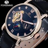 2016 Top Brand FORSINING Luxury Men Watches Moon Phase Automatic Mechanical Moon Phase Rhinestone Tourbillion Wristwatches