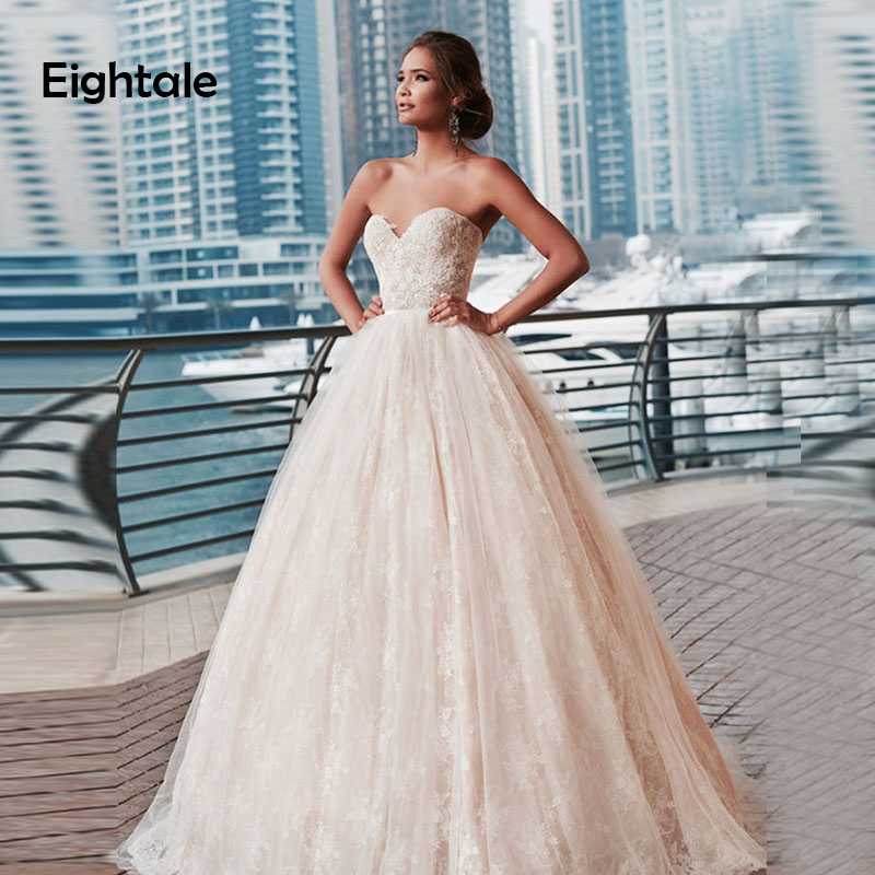 Eightale Vintage Wedding Dresses Beach Sweetheart A-Line Lace Wedding Gowns Backless Lace Up Bride Dress Vestidos De Festa