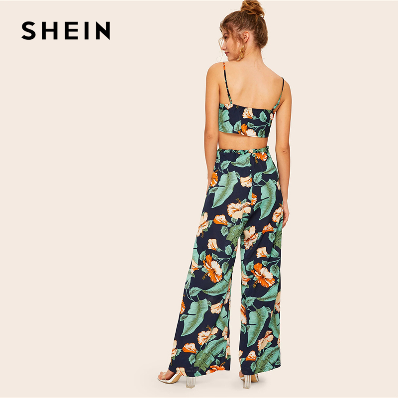 SHEIN Boho Knot Front Cami Crop Top and Wrap Split Wide Leg Pants 2 Piece Set Women Summer Tropical Print Vacation Two Piece Set 2