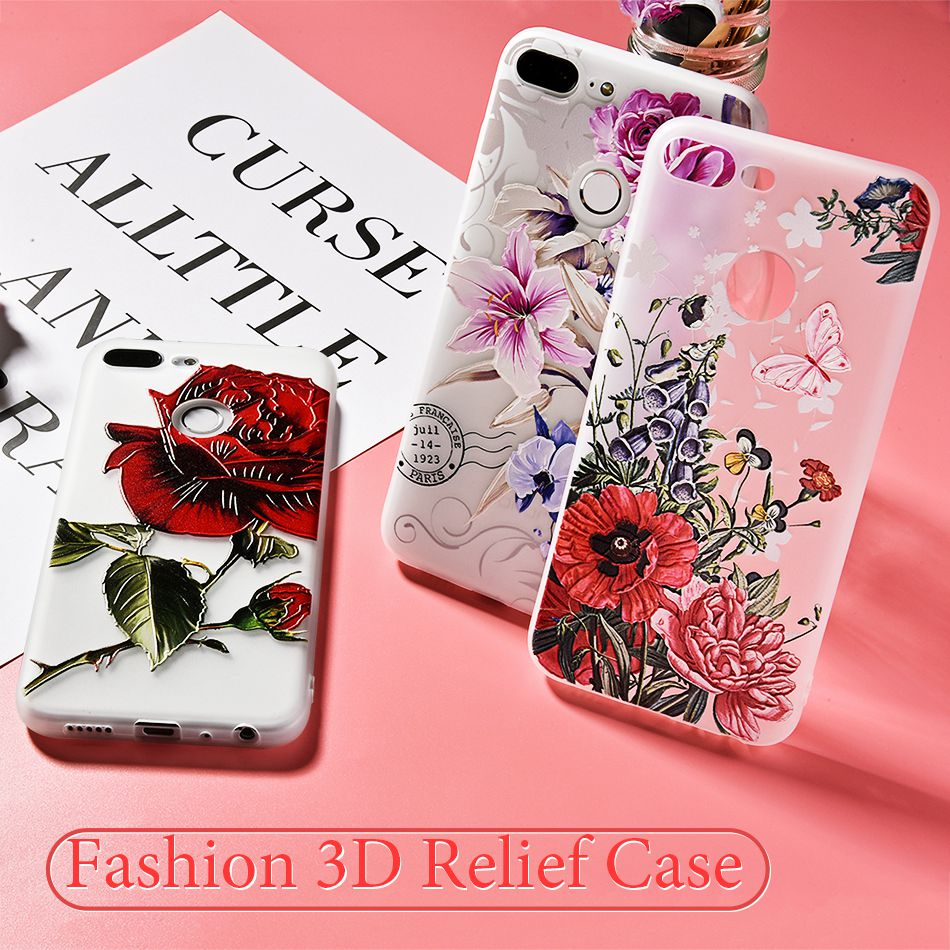 3D Relief Flower TPU Case For On Honor 9 9 lite Soft Silicone Case Back Cover Case for Huawei P20 P10 lite NOVA 2 Case           (2)