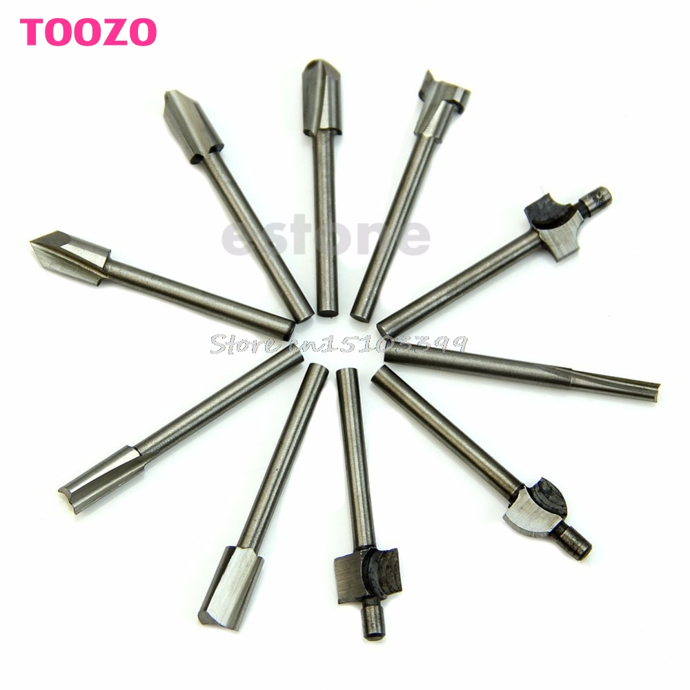HSS Router Bits Wood Cutter Milling Fits Dremel Rotary Tool Set 10Pcs 1/8 3mm Drop Ship free shipping 10pcs 6x25mm one flute spiral cutter cnc router bits engraving tool bits cutting tools wood router bits