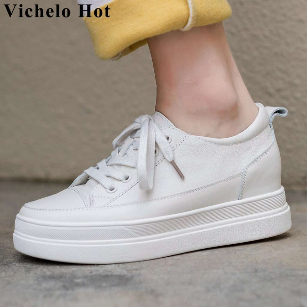 Vichelo Hot popular classic white sneakers lace up flat platform breathable genuine leather round toe women vulcanized shoes L91Vichelo Hot popular classic white sneakers lace up flat platform breathable genuine leather round toe women vulcanized shoes L91