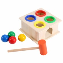 лучшая цена Novely Hammering Game Wooden Ball Hammer Box Children Early Learning Educational Toy Wooden Ball Funny Developmental Kids Toys