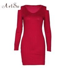 Арцу мода осень с плеча с длинным рукавом Облегающее вязаное платье тонкий Vestido офисная стильная Короткая мини-Платья для женщин черный asdr20431