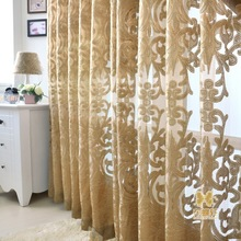 2018 New Modern Europe Type Hollow Out Curtain Cloth Cut Flowers Jacquard Fabrics Purchasing Process Blinds Gold Queen Curtain purchasing power