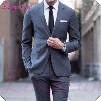 94f5f035 Linyixun trajes de hombre trajes de boda para hombre esmoquin gris Juego de  3 piezas traje