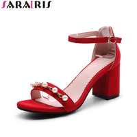 BONJOMARISA New Plus Sizes 32 48 Leisure Pearls Square High Heels Ankle Strap Woman Shoes Sandal