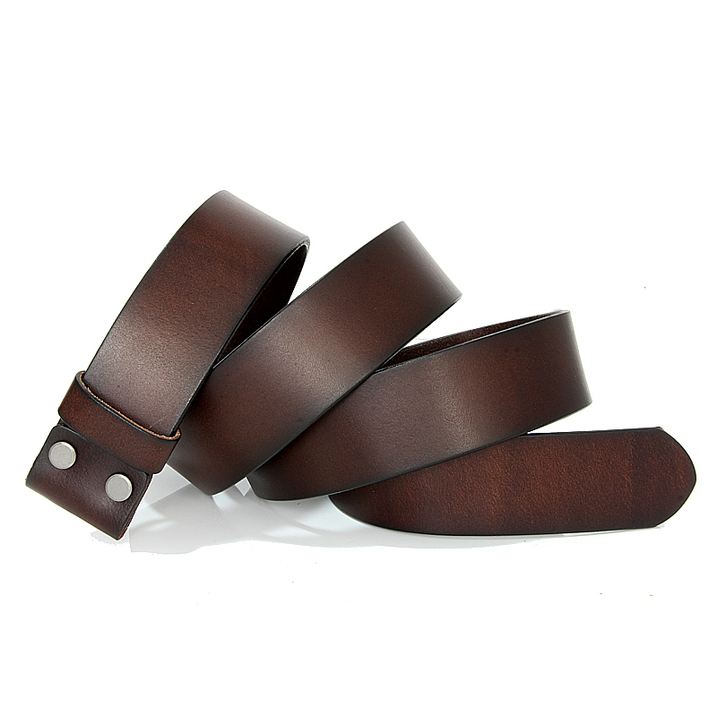 Men Luxury Leather Vintage No Buckle Suit Smooth Buckle Black Coffee Color Belts