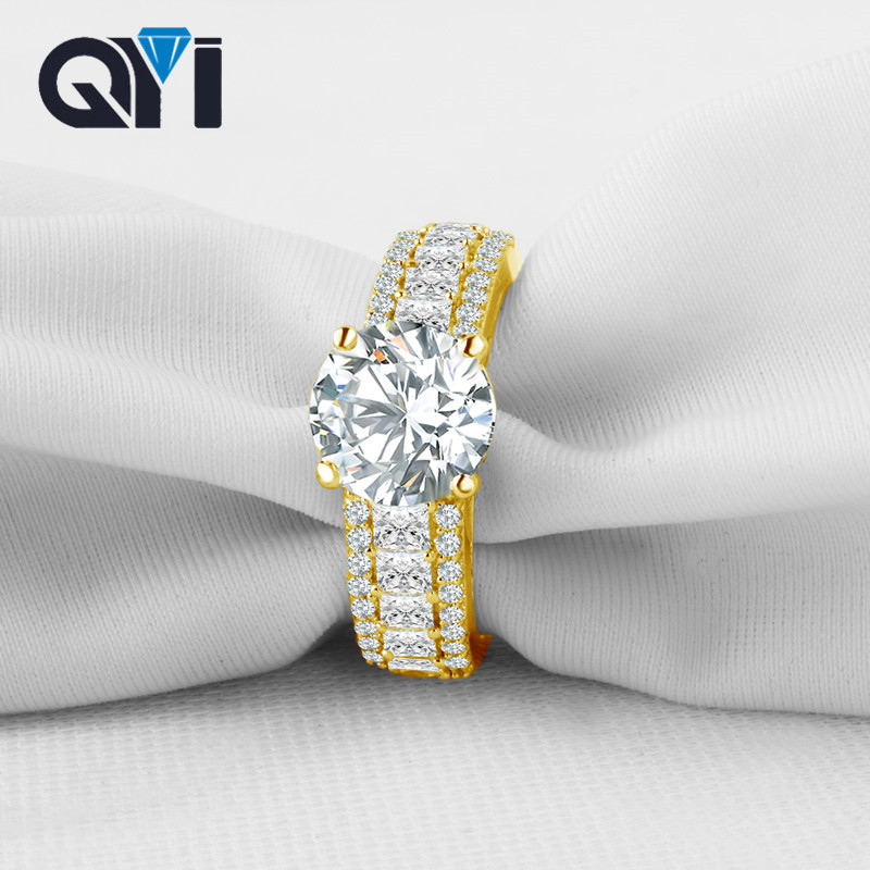 QYI Luxury 10k Solid Yellow Gold Wedding Rings 2 ct Round Cut Simulated Diamond Women Rings Women Gift For Fine Jewelry 6pcs of stylish color glazed round rings for women